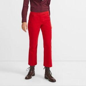 Theory red crop Moleskin pants